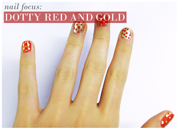 Dotty Red and Gold Nails