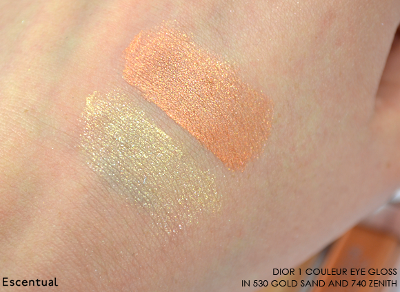 Dior 1 Couleur Eye Gloss in 530 Gold Sand and 740 Zenith Swatches Blended
