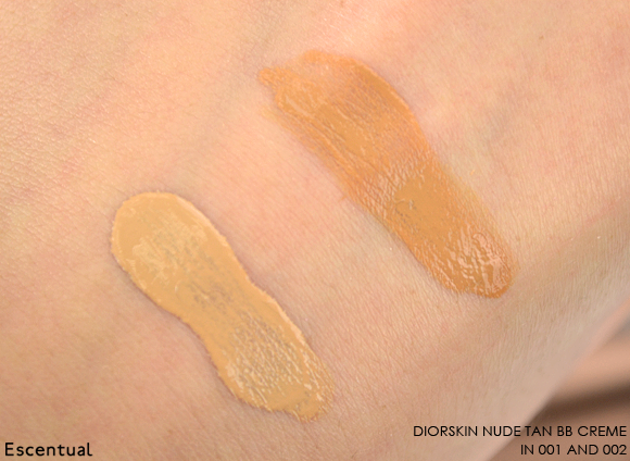Diorskin Nude Tan BB Creme in 001 and 002 Swatch