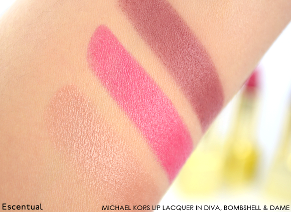 Michael Kors Lip Lacquer in Diva Bombshell Dame Swatch