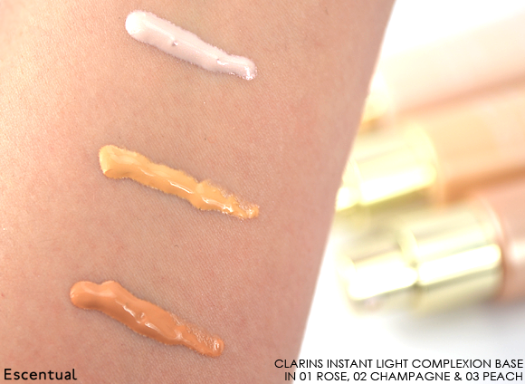 Clarins Instant Light Complexion Base in 01 Rose - 02 Champagne - 03 Peach Swatched