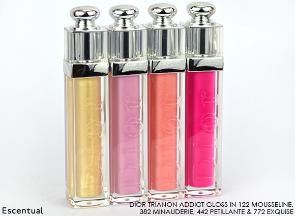 Dior Addict Gloss 122 Mousseline 382 Minauderie 442 Petillante 772 Exquise