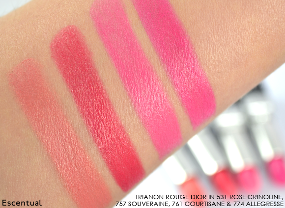 Rouge Dior Lipstick Swatches 531 Rose Crinoline 757 Souversaine 761 Courtisane 774 Allegresse