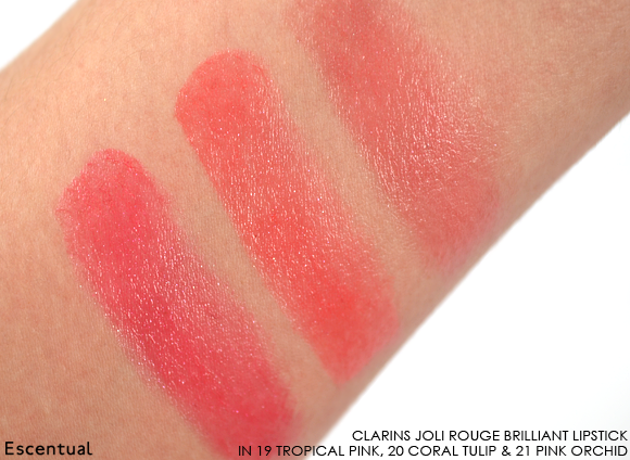 Clarins Rouge Brilliant in 19 Tropical Pink - 20 Coral Tulip - 21 Pink Orchid Swatches