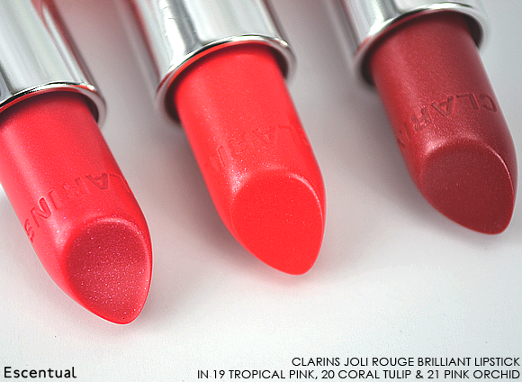 Clarins Rouge Brilliant in 19 Tropical Pink - 20 Coral Tulip - 21 Pink Orchid