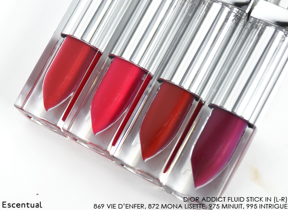Dior Addict Fluid Stick - 869 Vie d'Enfer - 872 Mona Lisette - 975 Minuit - 995 Intrigue Sticks