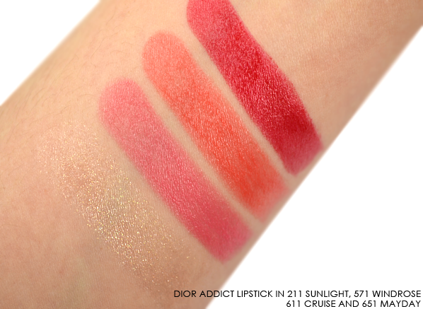 Dior Addict Transat Lipstick in 211 Sunlight 571 Windrose 611 Cruise 651 Mayday swatches