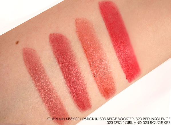 Guerlain KissKiss Lipstick in 303 Beige Booster 320 Red Insolence 323 Spicy Girl 325 Rouge Kiss Swatches