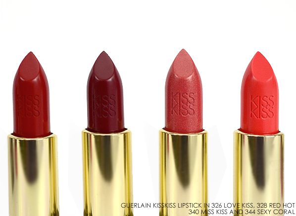Guerlain KissKiss Lipstick in 326 Love Kiss 328 Red Hot 340 Miss Kiss 344 Sexy Coral