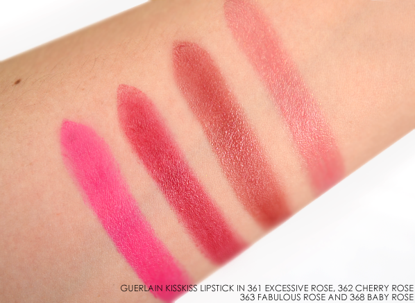 Guerlain KissKiss Lipstick in 361 Excessive Rose 362 Cherry Rose 363 Fabulous Rose 368 Baby Rose Swatches