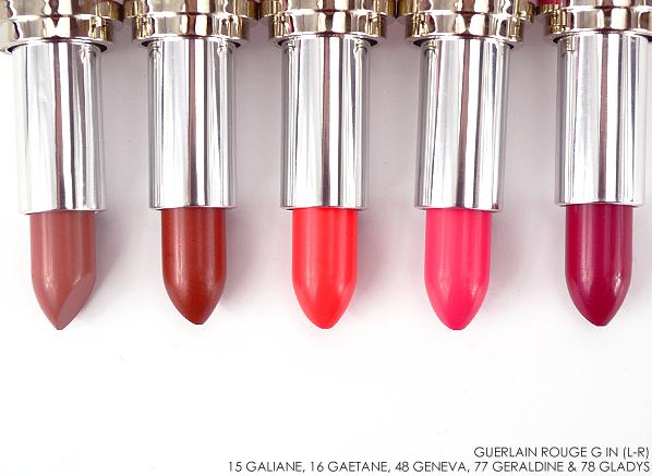 Guerlain Rouge G Lipstick 15 Galiane-16 Gaetane-48 Geneva-77 Geraldine-78 Gladys