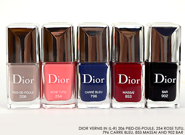 Dior Vernis 206 Pied-de-Poule - 254 Rose Tutu - 796 Carre Bleu - 853 Massai - 902 Bar