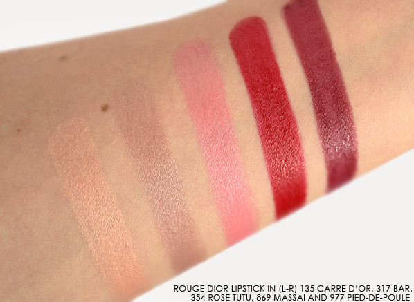 Rouge Dior Lipstick Fall 2014 - 135 Carre d'Or - 317 bar - 354 rose tutu - 869 massai - 977 pied-de-poule  Swatched