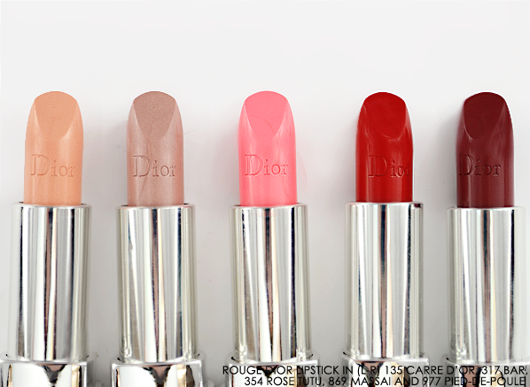 Rouge Dior Lipstick Fall 2014 - 135 Carre d'Or - 317 bar - 354 rose tutu - 869 massai - 977 pied-de-poule