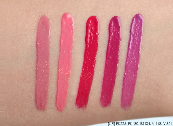 Shiseido Lacquer Rouge in PK226 PK430 RS404 VI418 VI324