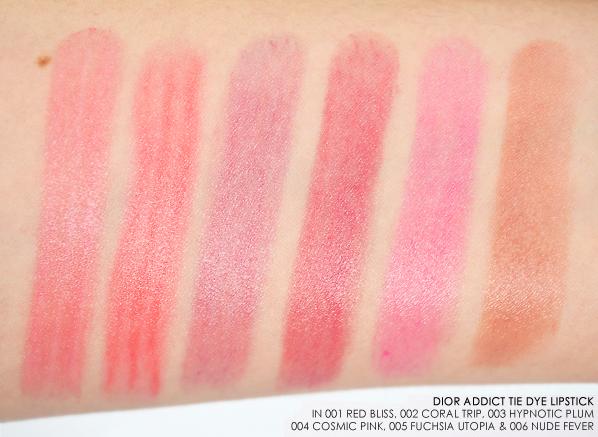 Dior Addict Lipstick Tie Dye Lipstick Swatches