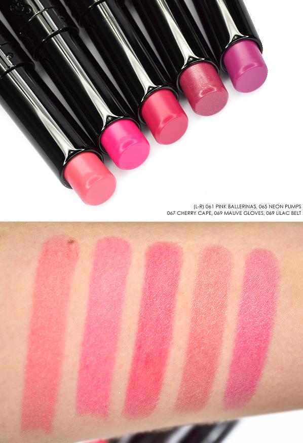 Guerlain La Petite Robe Noire Lipstick - Pink Ballerinas - Neon Pumps - Cherry Cape - Mauve Gloves -Lilac Belt copy
