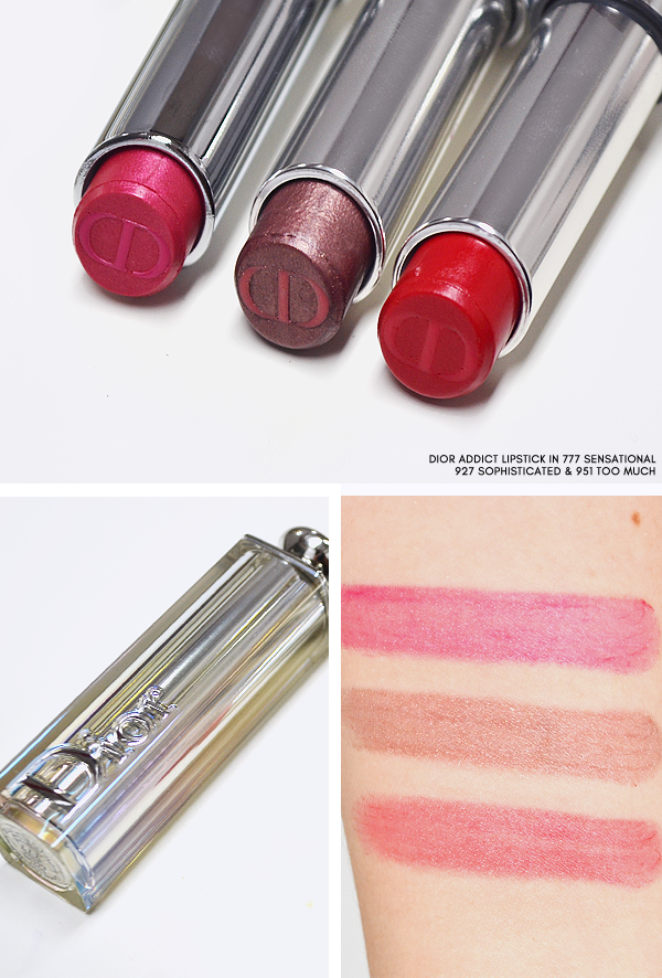 Dior Skyline - Dior Addict Lipstick - 777 Sensational - 927 Sophisticated - 951 Too Much