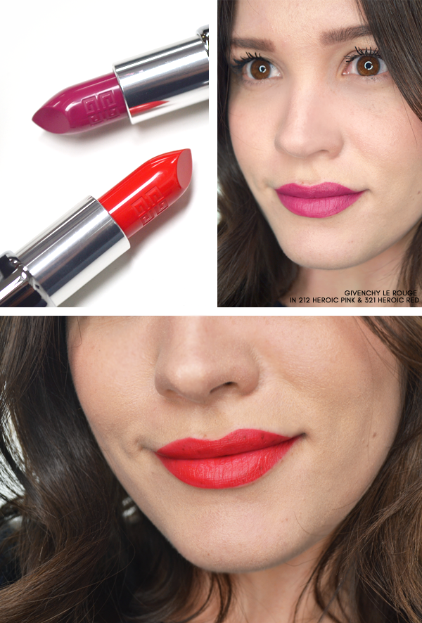 Givenchy Le Rouge in 212 Heroic Pink and 321 Heroic Red - Superstellar Makeup Look