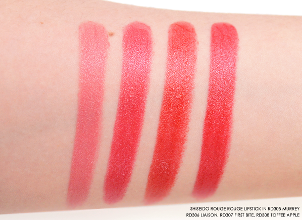 Shiseido Rouge Rouge RD305 Murrey - RD306 Liaison - RD307 First Bite - RD308 Toffee Apple
