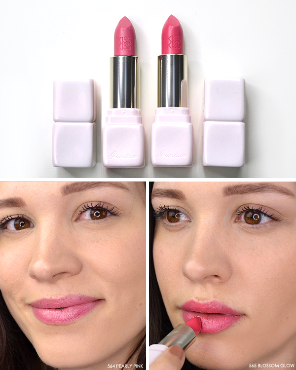 guerlain-kisskiss-lipstick-in-564-pearly-pink-and-565-blossom-glow Happy Rosy Glow