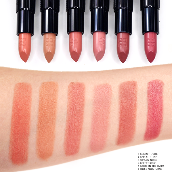 Givenchy Rouge Interdit Lipstick in 1 Secret Nude - 2 Serial Nude - 3 Urban Nude - 4 Street Rose - 5 Nude In The Dark - 6 Rose Nocturne - Swatches Blog