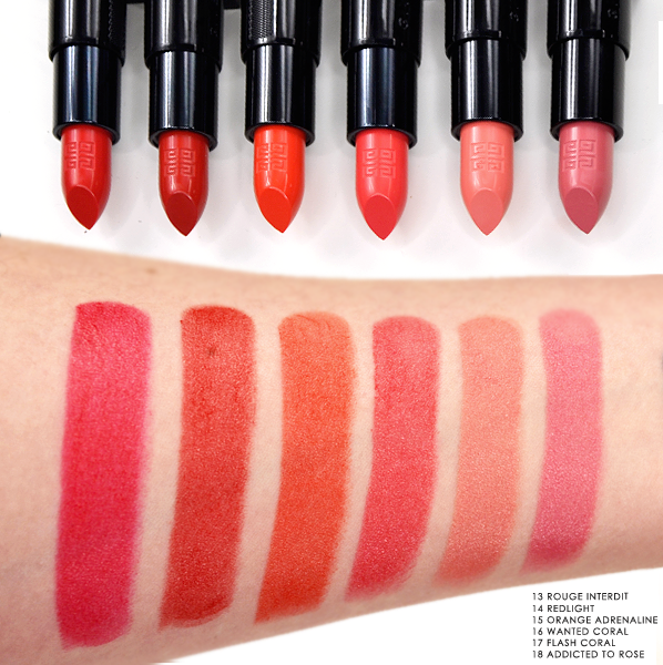 Givenchy Rouge Interdit Lipstick in 13 Rouge Interdit - 14 Redlight - 15 Orange Adrenaline - 16 Wanted Coral - 17 Flash Coral - 18 Addicted To Rose - Swatches Blog