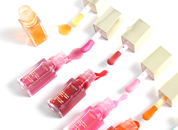 Clarins Instant Light Lip Comfort Oil Colours Texture and Colour Close Up