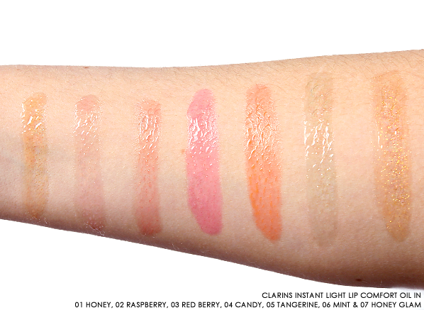 Clarins Instant Light Lip Comfort Oil Colours Honey, Raspberry, Red Berry, Candy, Tangerine, Mint, Honey Glam