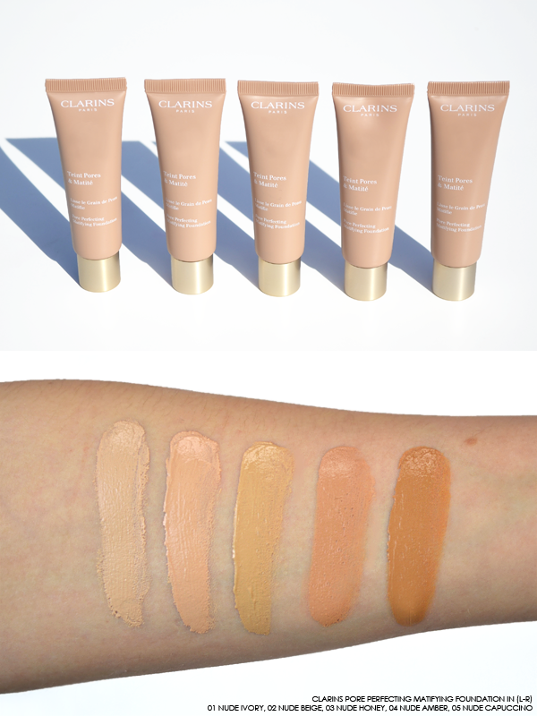 Clarins Pore Perfecting Matifying Foundation Swatches