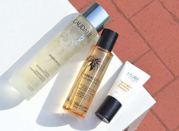 Escentual Beauty Team Favourites June 2017 - Chelsey. Caudalie Vinoperfect Brightening Concentrated Essence, Guerlain Sous Oil Terracotta Huile Sous Le Vent and Laura Geller Liquid Gelato Pillow Top Illuminator in Glided Honey