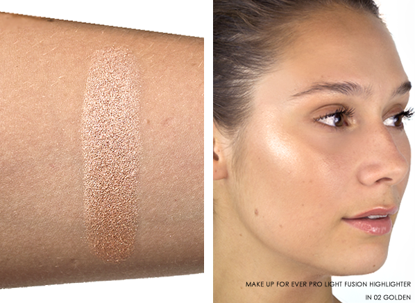 MAKE UP FOR EVER Pro Light Fusion - Undetectable Luminizer in 02 Golden Swatched On Arm and Face