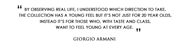 Giorgio Armani Quote on the new Emporio Armani Because It's You Eau de Parfum and Stronger With You Eau de Toilette