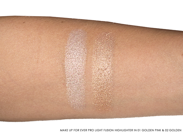 MAKE UP FOR EVER Pro Light Fusion - Undetectable Luminizer in 01 Golden Pink and 02 Golden Swatches