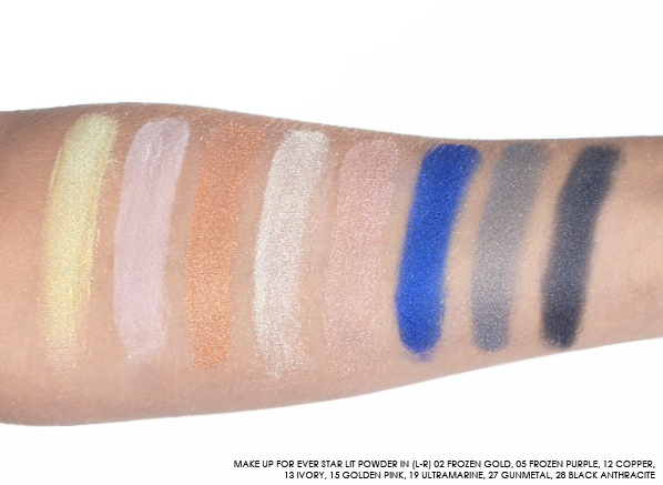 MAKE UP FOR EVER Star Lit Powder Swatches - 02 Frozen Gold, 05 Frozen Purple, 12 Copper, 13 Ivory, 15 Golden Pink, 19 Ultramarine, 27 Gunmetal, 28 Black Anthracite