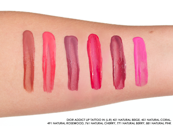 Swatches of the Dior Addict Lip Tattoo Swatches in 421 Natural Beige, 451 Natural Coral, 491 Natural Rosewood, 761 Natural Cherry, 771 Natural Berry