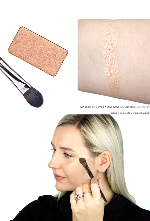 MAKE UP FOR EVER Artist Face Color Highlighter in H106 - Shimmery Champagne Swatch On Hand, Skin & Product Shot