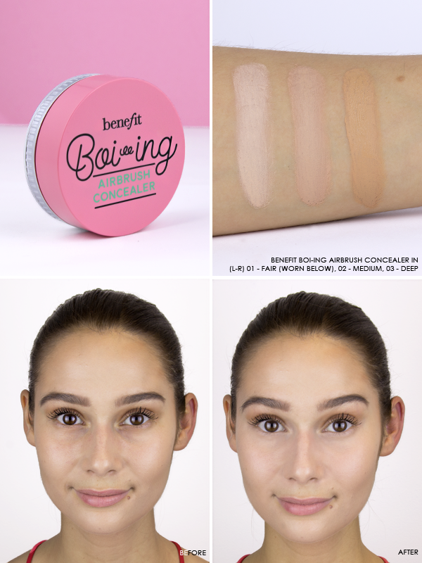 Benefit Boi-ing Airbrush Concealer in 01 - Fair, 02 - Medium, 03 - Deep