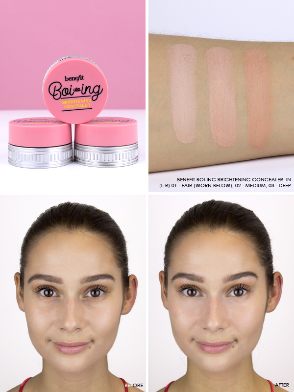 Benefit Boi-ing Brightening Concealer in shades 01 - Fair, 02 - Medium, and 03 - Deep