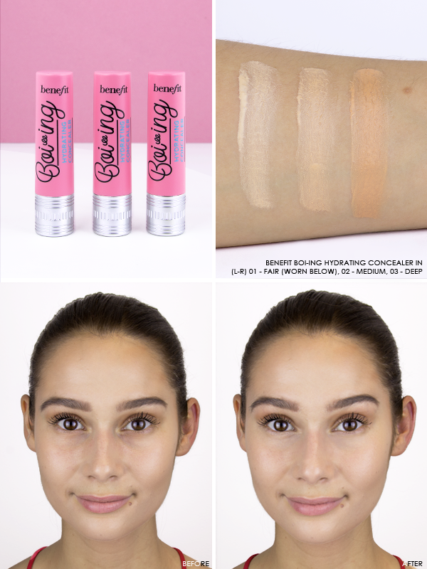 Benefit Boi-ing Hydrating Concealer in shades 01 - Fair, 02 - Medium and 03 - Deep
