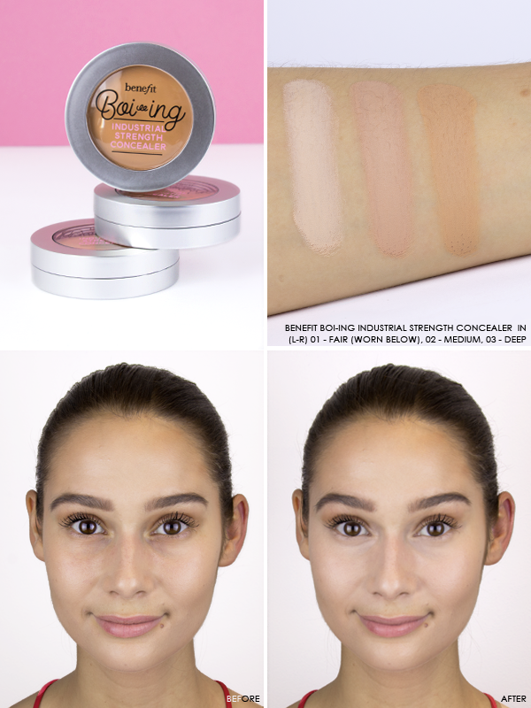Benefit Boi-ing Industrial Strength Concealer in shades 01 - Fair, 02 - Medium and 03 - Deep