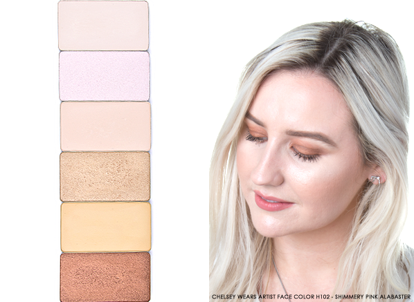 MAKE UP FOR EVER Aritst Face Color Highlighters H100 - Ivory, H102 - Shimmery Pink Alabaster, H104 - Eggshell, H106 - Shimmery Champagne, H108 - Banana, H312 - Shimmery Gold Copper Product Pans
