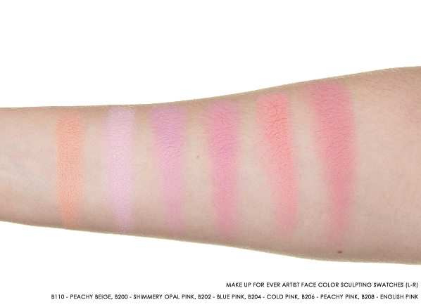 MAKE UP FOR EVER Artist Face Color Swatches - B110 - Peachy Beige, B200 - Shimmery Opal Pink, B202 - Blue Pink, B204 - Cold Pink, B206 - Peachy Pink, B208 - English Pink