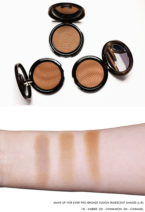 MAKE UP FOR EVER PRO BRONZE FUSION IRIDESCENT SHADES (L-R) 15I - AMBER, 25I - CINNAMON, 35I - CARAMEL SWATCH AND IMAGE SHOT