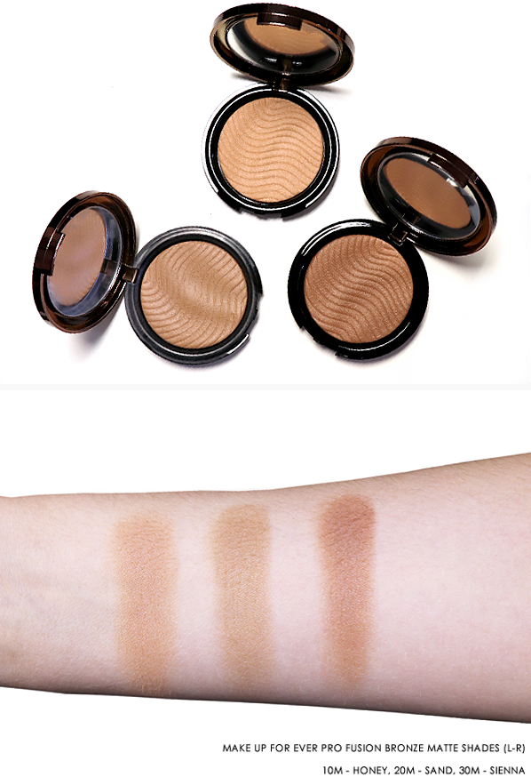 MAKE UP FOR EVER PRO FUSION BRONZE MATTE SHADES (L-R) 10M - HONEY, 20M - SAND, 30M - SIENNA SWATCHES AND IMAGE SHOT