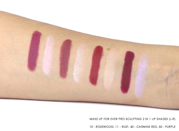 MAKE UP FOR EVER Pro Sculpting 2 in 1 Lip SHADES (L-R) 10 - Rosewood, 11 - Rust, 40 - Carmine Red, 50 - Purple