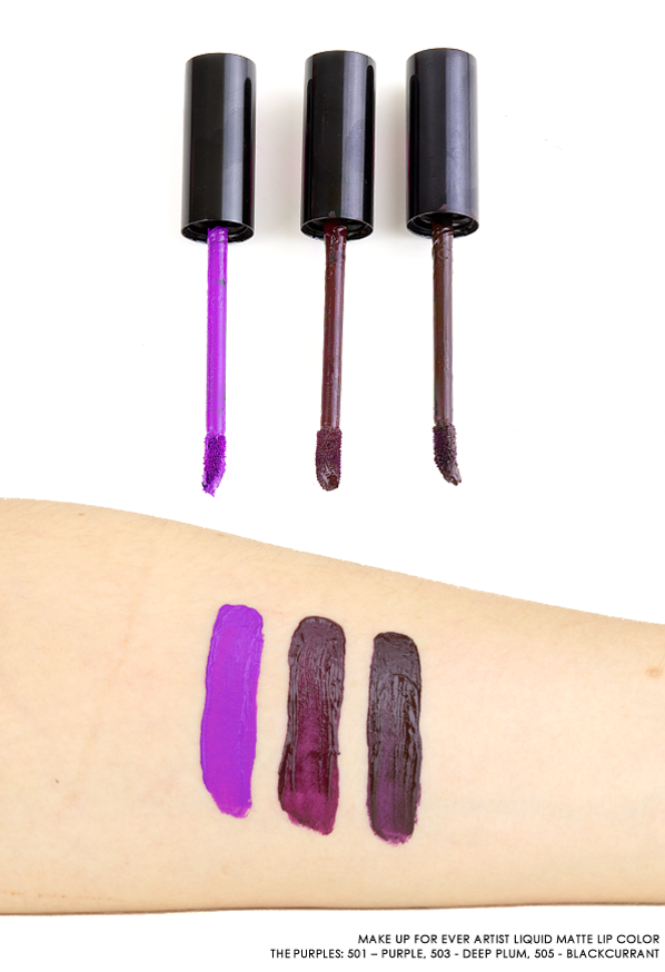 MAKE UP FOR EVER Artist Liquid Matte Lip Color The Purples Swatches: 501 – Purple, 503 - Deep Plum, 505 – Blackcurrant