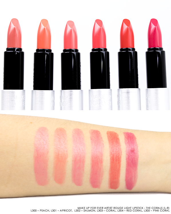 MAKE UP FOR EVER Artist Rouge Light Lipstick Bullets & Swatches in L300 – Peach, L301 – Apricot, L302 – Salmon, L303 – Coral, L304 – Red Coral and L305 – Pink Coral