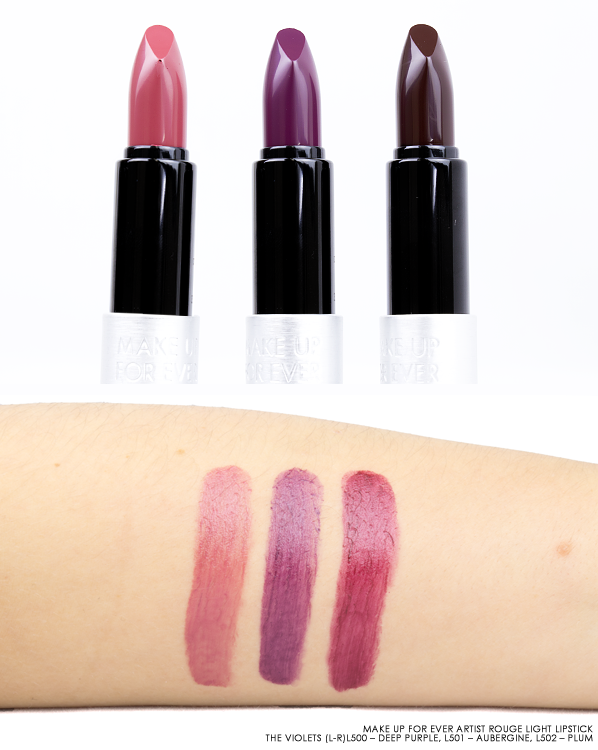 MAKE UP FOR EVER Artist Rouge Light Lipstick Swatches in L500 – Deep Purple, L501 – Aubergine, L502 – Plum