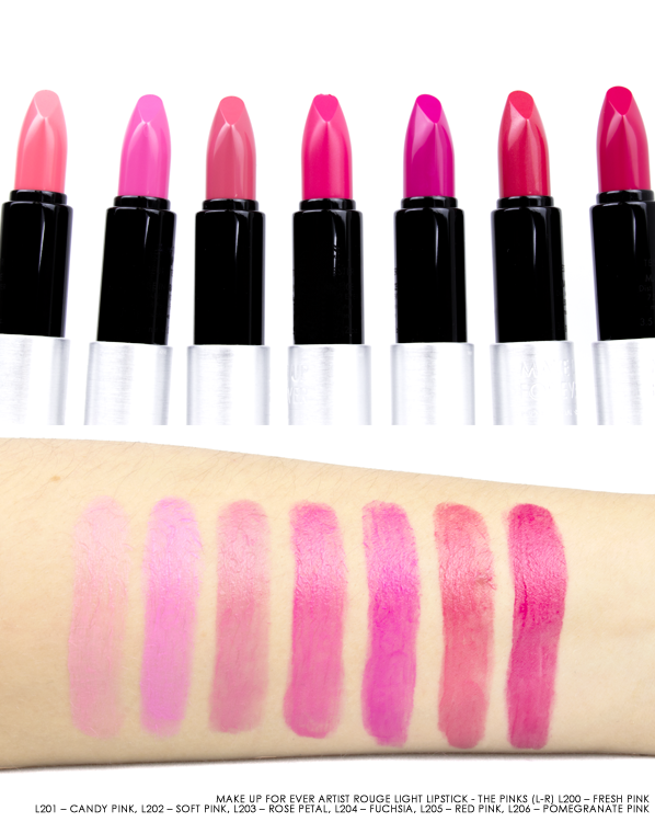 MAKE UP FOR EVER Artist Rouge Light Lipstick Swatches in L200 – Fresh Pink, L201 – Candy Pink, L202 – Soft Pink, L203 – Rose Petal, L204 – Fuchsia, L205 – Red Pink, L206 – Pomegranate Pink